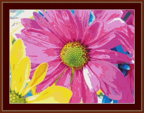 Pink Daisy Flower Cross Stitch Pattern /Digital PDF Files /Instant downloadable