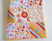 Minky Patchwork Baby Girl Blanket Quilt Riley Blake Hello Sunshine Birds Flowers Last One--Ready to Ship