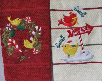 "Embroidered ""Sweet Tweet Christmas"" Kitchen Towel Set (2)"