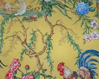 SCALAMANDRE CHANTICLEER ROOSTER Toile Fabric 10 yards Multi