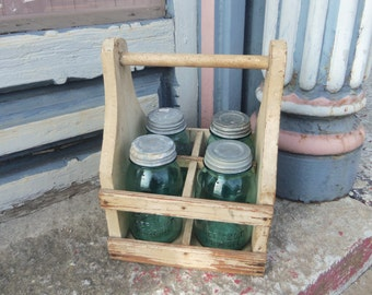 Vintage Rustic Wooden Tote with 4 Aqua Blue Ball Perfect Mason Quart Sized Jars and Zinc Lids B757