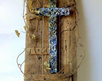 handmade original wood and plaster cross composite, large painted wall sculpture, peacock, blues, pine