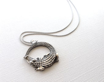Alligator Necklace in Sterling Silver, Crocodile Jewelry, Alligator Jewelry, Crocodile Necklace in Sterling Silver.