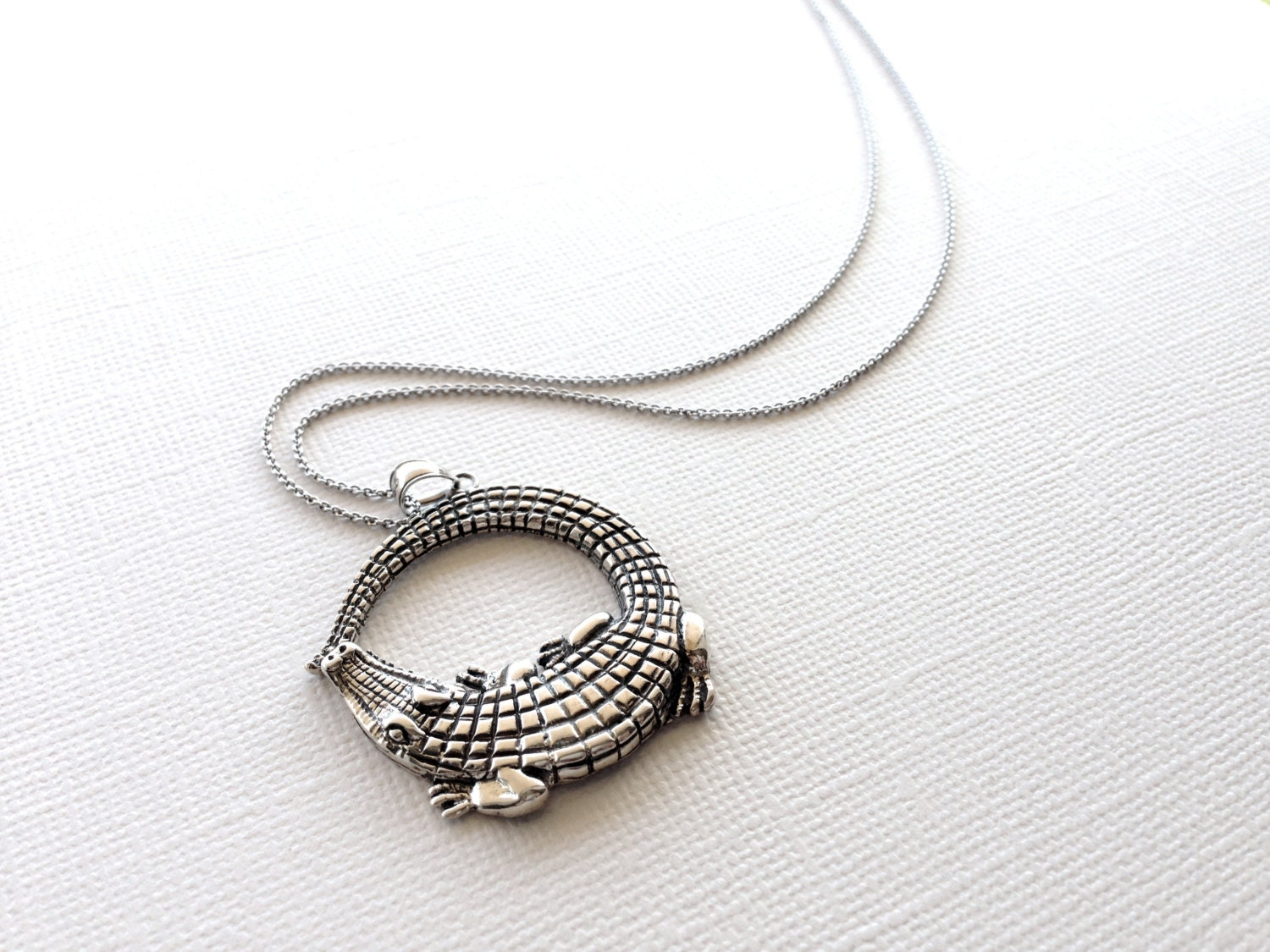 Alligator Necklace In Sterling Silver Crocodile Jewelry