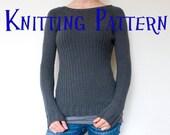 PDF Knitting Pattern - Graphite Pullover, Sweater Knitting Pattern, Ladies Clothing Pattern, Top Down Knitting Pattern