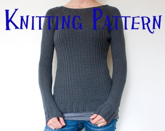 PDF Knitting Pattern - Graphite Pullover, Sweater Knitting Pattern, Ladies Clothing Pattern, Top Down Knitting Pattern