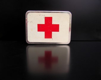 Soviet Vintage Red Cross First Aid Tin Box Medical Box 70s