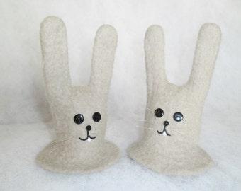 Eggs warmers - bunnies from wool, felted bunnies, easter ornaments, felt bunnies, eggs warmers, Easter symbol rabbit/bunny