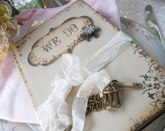 Handmade book WE DO! Custom Wedding Guest Book in shabby rustic style