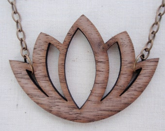 Wood Lotus Necklace