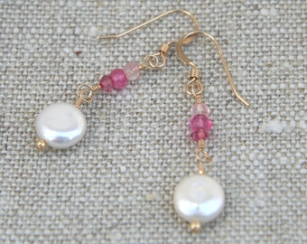 Beautiful white freshwater coin pearls with trio of pink rondelles on 14k gold-filled ear wires