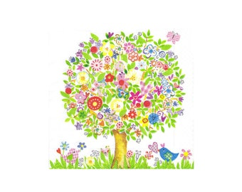 Paper napkin for decoupage, mixed media, collage, scrapbooking x 1. Flower Tree. No 1066