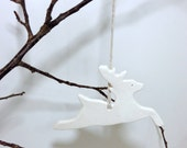 2 White Reindeer Ornaments  Set Of 2 Minimal Elegant Holiday Christmas Porcelain Pottery Gift Keepsake Decor  MADE TO ORDER