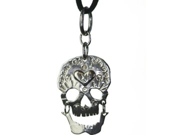 Day of the Dead Laughing Skull Pendant. Rock n Roll Jewelry.