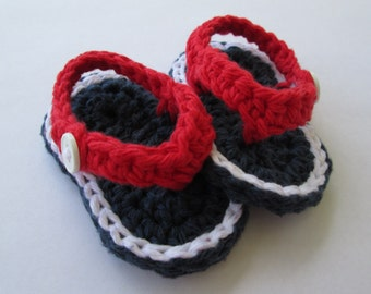 4th of July Baby, Patriotic Baby, July 4th Baby, Baby Flip Flops, Crochet Baby Shoes, Crochet Baby Sandals, Baby Shoes, Baby Girl, Baby Boy