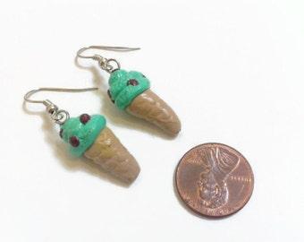 Mint Chocolate Chip Ice Cream Earrings, polymer clay charms, food jewelry, kawaii, summer treats, handmade charms, ice cream earrings,
