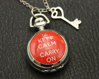 Necklace Pocket watch keep calm and carry on 2222m