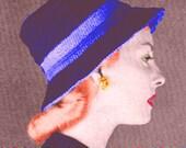 Vintage Vogue 1947 Stylish Two Color Double Brimmed Cloche Hat 690 PDF Digital Crochet Pattern