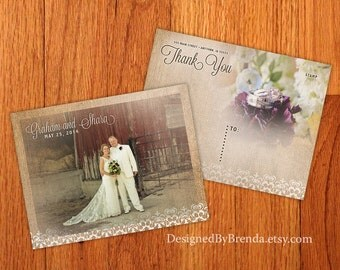Vintage Burlap and Lace Wedding Thank You Postcards - Printed on 100 lb. Recycled Matte Card Stock - Free Shipping - w/ photos on both sides