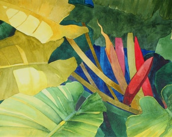 Art Original Watercolor Painting Close-Up of a MONSTERA FLOWER