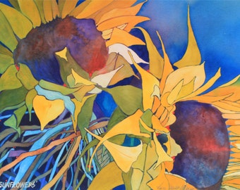 Art Original Watercolor Painting of Up-Country GIANT SUNFLOWERS