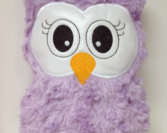 Purple Fluffy Stuffed Owl Soft Toy, Pillow, Reading Buddy (Not Personalized)