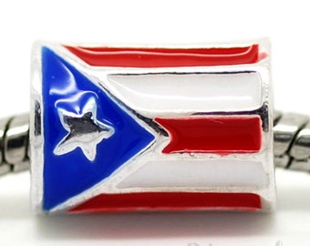 Puerto Rico Flag European Bead - Cylindrical Puerto Rican Flag Charm Bead For European Bracelet And Necklace Chains