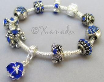 September Birthstone Blue Sapphire European Charm Bracelet - Royal Blue Rhinestone Charm Bracelet For September Birthdays