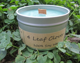 4 Leaf Clover. 8oz Soy Candle Tin with Wood Wick