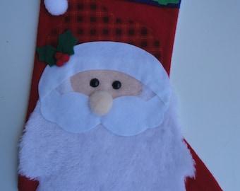 Vintage 3D Handmade Felt Santa Claus Christmas Stocking Felt Santa Claus Stocking Wall Hanging Happy Santa Claus Stocking