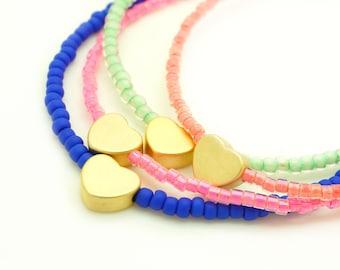 Heart Beaded Bracelet - Love Bracelet - Tassel Bracelet - Heart Bracelet - Seed Bead Bracelet - Pastel Mint Bracelet
