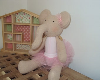 Elephant ballerina with pink tutu. Can be personalised