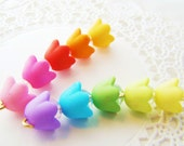 Bright Matte Opaque Acrylic Bell Flower Beads Mix Plastic Bead Caps Pink Blue Green Purple 10x7mm- 24 beads