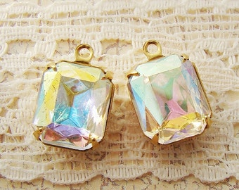 Vintage Swarovski AB Crystal 12x10mm Octagon Faceted Glass Set Stones in Antique Silver or Brass Drop or Connector Settings - 2