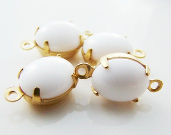 Opaque White 10x8mm Oval Stones in Brass Drop or Connector Settings - 4