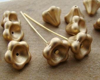 Large Matte Gold 11x13mm Bell Flower Beads Czech Glass -  10