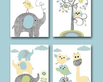 Childrens Art Kids Wall Art Baby Boy Room Decor Baby Boy Nursery Kids Art Baby Nursery Print Elephant Nursery Giraffe Nursery set of 4