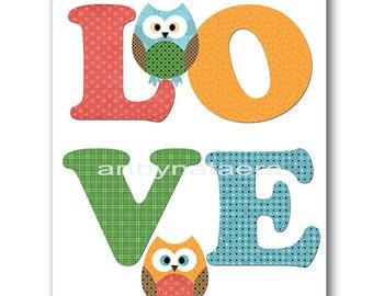 Owl Decor Owl Nursery Kids Wall Art Baby Boy Nursery Decor Baby Nursery Print Children Art Print Nursery Print Boy Art Love Green Baby