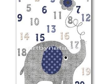 Kids wall art Kids Art Elephant Nursery Numbers Nursery Art Decor Baby Boy Nursery Art Baby Room Decor Nursery Print Boy Print gray