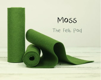 """100 Percent Wool Felt Roll - Wool Felt color MOSS - 5"""" X 36"""" Wool Felt - 100% Wool Felt"""