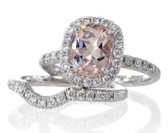 Bridal SET 18 Karat White Gold 9x7mm Cushion Cut Morganite Diamond Halo Solitaire Engagement Ring Bridal Anniversary Ring