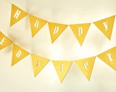 SALE % EASTER wooden banner - Happy Easter bunting decor spring decorations yellow custom colour