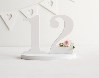 Table numbers, 1-12, white table numbers, wedding table numbers, custom colors