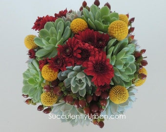 Succulent Bouquet Yellow and Red