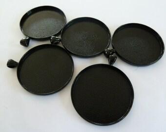 10 x Round large BLACK 38mm pendant trays - blank bezel cabochon setting