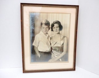 Vintage Mother and Son 1940s Black and White Photo Instant Ancestor Framed by metrocottage