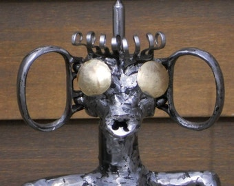 Robot Metal Sculpture Cleaning Lady Yard Art Garden Art Found Objects