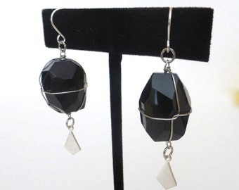 Repurposed Vintage 1970's Wire Wrapped Black Onyx Silver Dangle Statement Earrings