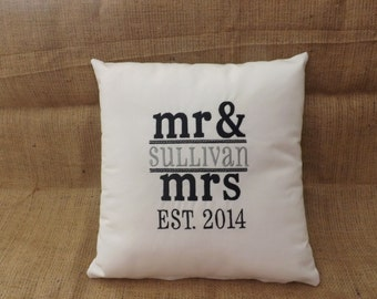 Mr. and Mrs. Embroidered Pillow, custom pillow, personalized pillow, 14 x 14 pillow, embroidery, Mr. and Mrs, decorative pillow, anniversary