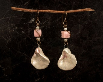 Artisan Earrings with Porcelain Rose Petals & Pink Opal
